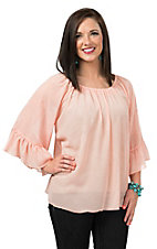 R. Rouge Women's Solid Peach Paisley Pattern 3/4 Sleeve Chiffon Fashion Top