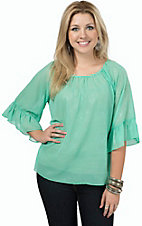 R. Rouge Women's Solid Mint Paisley Pattern 3/4 Sleeve Chiffon Fashion Top- Plus Sizes