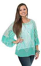 R. Rouge Women's Mint & White Print 3/4 Sleeve Chiffon Fashion Top