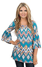 R. Rouge Women's Turquoise and Grey Multi Aztec Print 3/4 Sleeve Fashion Tunic Top