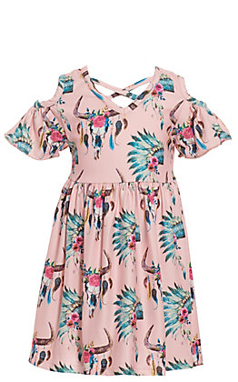 Lore Mae Girls Pink Headdress and Skull Print with Ruffle Cold Shoulder Dress