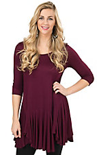 R. Rouge Women's Burgundy 3/4 Sleeve Tunic Top