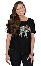 PPLA Women's Black Karma Elephant Tulip Back Swing Tee