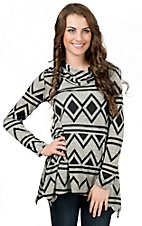 R. Rouge Women's Grey with Black Diamond Print Cowl Neck Long Sleeve Fashion Top