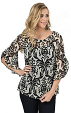R. Rouge Women's Cream with Black Paisley Print 3/4 Sleeves Chiffon Fashion Top