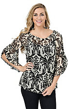 R. Rouge Women's Cream with Black Paisley Print 3/4 Sleeves Chiffon Fashion Top - Plus Sizes
