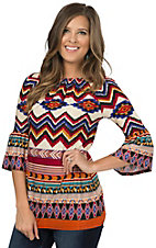 R. Rouge Women's Cream, Burgundy and Blue Multi Tribal Print 3/4 Sleeve Fashion Top