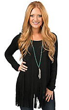 R. Rouge Women's Black with Fringe Long Sleeve Casual Knit Tee
