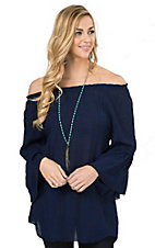 R. Rouge Women's Navy Gauze 3/4 Sleeve Fashion Top