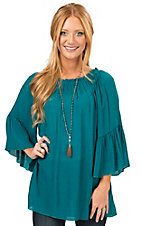 R. Rouge Women's Teal Gauze 3/4 Sleeve Fashion Top