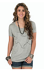 PPLA Women's Grey Lone Star Scoop Neck Loose Fit Tee