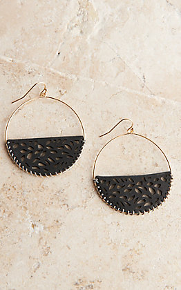 Amber's Allie Gold with Half Circle Black Leather Dangle Earrings