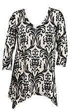 R. Rouge Women's Black & Cream Scroll Print 3/4 Sleeve Fashion Top- Plus Sizes