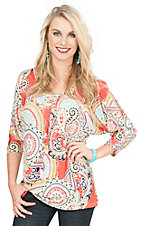 R. Rouge Women's Coral, Mint, and Yellow Multi Print 3/4 Sleeve Cold Shoulder Fashion Top