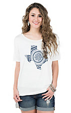 PPLA Women's Cream with Navy Texas Short Sleeve Casual Knit Top