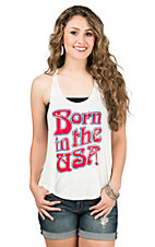 PPLA Women's White with Born in the USA Racerback Tank Casual Knit Top