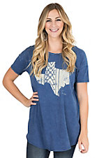 PPLA Women's Blue with Texas on Front Short Sleeve Casual Knit Top
