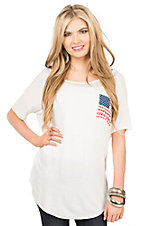 PPLA Women's White with Front Pocket American Flag Design Short Sleeve Casual Knit Top