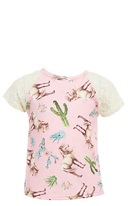Lore Mae Girls' Pink Horse Print & Lace Fashion Top