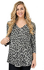 Karlie Women's Charcoal Grey Leopard Print Dolman Sleeves Tunic Fashion Top