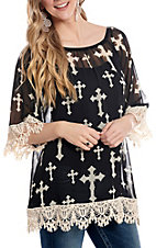 R. Rouge Women's Black with White Cross Print 3/4 Lace Bell Sleeve Fashion Top