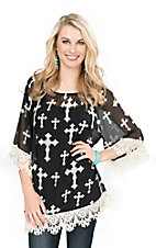 R. Rouge Women's Black with White Cross Print and Crochet Trim 3/4 Sleeve Fashion Top