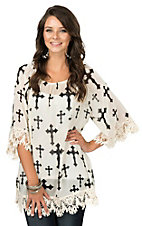 R. Rouge Women's White with Black Cross Print and Crochet Trim 3/4 Sleeve Fashion Top