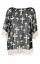 R. Rouge Women's Black with White Cross Print and Crochet Trim 3/4 Sleeve Fashion Top - Plus Size