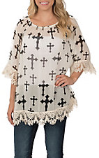 R. Rouge Women's Ivory with Black Cross Print and Crochet Trim 3/4 Sleeve Fashion Top