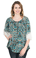 R. Rouge Women's Multi Colored Paisley Print with 3/4 Crochet Sleeves Fashion Top
