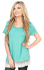 R. Rouge Women's Aqua with Lace Trim Short Sleeve Casual Knit Top