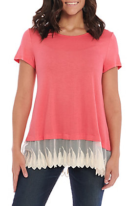 R. Rouge Women's Solid Pink With Lace Short Sleeve Fashion Top