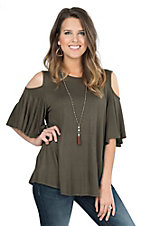 R. Rouge Women's Olive Cold Shoulder Butterfly Sleeve Casual Knit Top