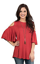 R. Rouge Women's Rust Cold Shoulder Butterfly Sleeve Casual Knit Top