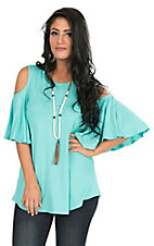 R. Rouge Women's Jade Cold Shoulder Butterfly Sleeve Casual Knit Top