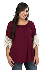 R. Rouge Women's Solid Burgundy with Crochet Details on 3/4 Sleeves Fashion Top