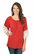 R. Rouge Women's Solid Rust Off The Shoulder with Crochet Details on 3/4 Sleeves Fashion Top