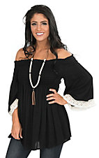 R. Rouge Women's Black Smocked Off Shoulder Long Bell Sleeve Fashion Top