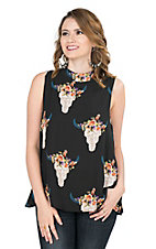 Peach Love Women's Black with Floral Skull Print Sleeveless Fashion Top