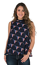 Fantastic Fawn Women's Navy Americana Skull Print Sleeveless Fashion Top