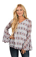 Fantastic Fawn Women's Ivory and Multi-Color Ikat Print Long Bell Sleeve Fashion Top
