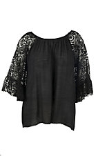 R. Rouge Women's Black with 3/4 Lace Bell Sleeves Fashion Top - Plus Size