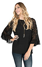 R. Rouge Women's Black with 3/4 Lace Bell Sleeves Fashion Top