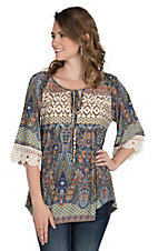 R. Rouge Women's Multi Colored Paisley Print with Crochet Detail on 3/4 Sleeves Fashion Top