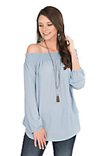Peach Love Women's Dusty Blue Elastic Top Long Sleeve Fashion Top