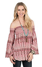 Peach Love Women's Dusty Pink Print Elastic Top 3/4 Sleeve Fashion Top