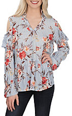 Peach Love Women's Floral Stripe Fashion Shirt