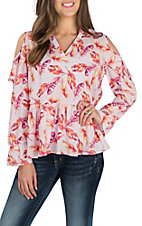 Peach Love Women's Pink Feather Print Cold Shoulder Fashion Shirt