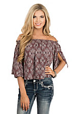 Peach Love Women's Maroon & White Paisley Off-the-Shoulder Fashion Top