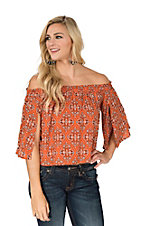 Peach Love Women's Orange & Black Paisley Off-the-Shoulder Fashion Top